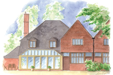 A watercolour of a bespoke designed hardwood conservatory.