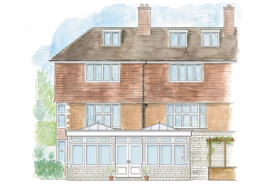 A watercolour of a bespoke designed hardwood orangery